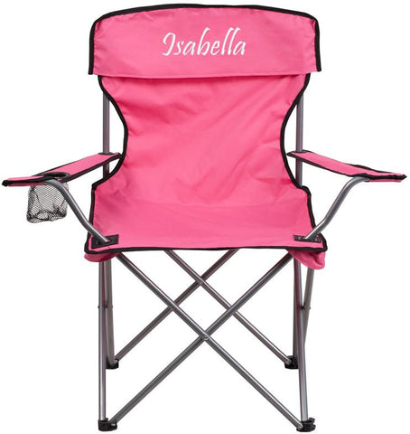 Flash Furniture TY1410-PK-EMB-GG Embroidered Folding Camping Chair with Drink Holder in Pink - Peazz Furniture
