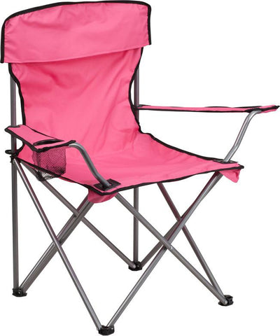 Flash Furniture TY1410-PK-GG Folding Camping Chair with Drink Holder in Pink - Peazz Furniture
