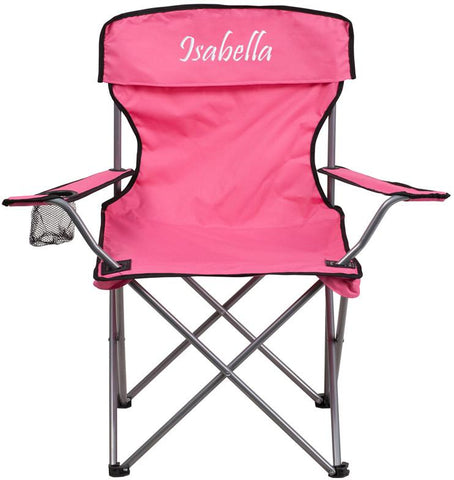 Flash Furniture TY1410-PK-TXTEMB-GG Personalized Folding Camping Chair with Drink Holder in Pink - Peazz Furniture