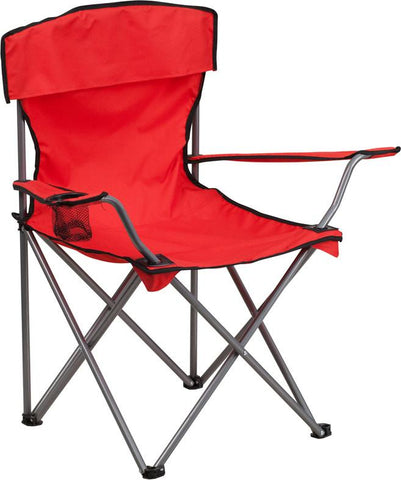 Flash Furniture TY1410-RED-GG Folding Camping Chair with Drink Holder in Red - Peazz Furniture