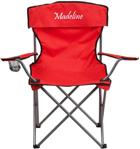 Flash Furniture TY1410-RED-TXTEMB-GG Personalized Folding Camping Chair with Drink Holder in Red - Peazz Furniture