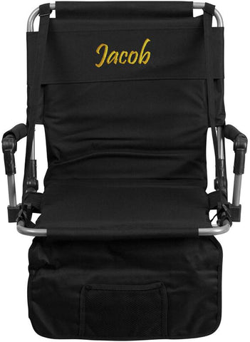 Flash Furniture TY2710-BK-TXTEMB-GG Personalized Folding Stadium Chair in Black - Peazz Furniture