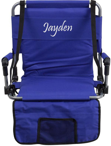 Flash Furniture TY2710-BL-TXTEMB-GG Personalized Folding Stadium Chair in Blue - Peazz Furniture