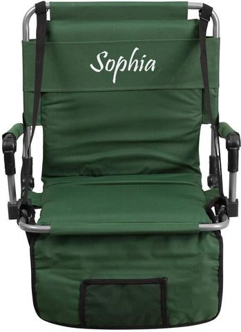 Flash Furniture TY2710-GN-EMB-GG Embroidered Folding Stadium Chair in Green - Peazz Furniture