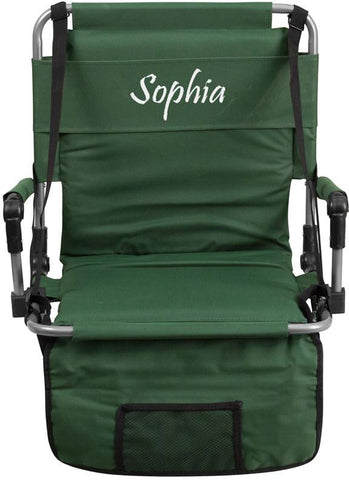 Flash Furniture TY2710-GN-TXTEMB-GG Personalized Folding Stadium Chair in Green - Peazz Furniture