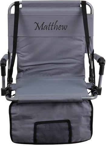 Flash Furniture TY2710-GY-EMB-GG Embroidered Folding Stadium Chair in Gray - Peazz Furniture