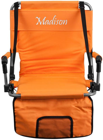 Flash Furniture TY2710-OR-EMB-GG Embroidered Folding Stadium Chair in Orange - Peazz Furniture