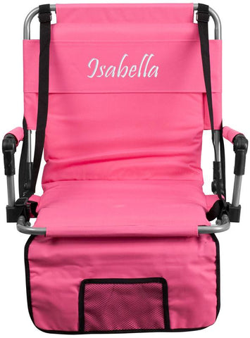 Flash Furniture TY2710-PK-TXTEMB-GG Personalized Folding Stadium Chair in Pink - Peazz Furniture