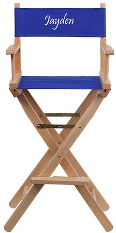 Flash Furniture TYD01-BL-EMB-GG Embroidered Bar Height Directors Chair in Blue - Peazz Furniture