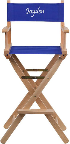 Flash Furniture TYD01-BL-TXTEMB-GG Personalized Bar Height Directors Chair in Blue - Peazz Furniture