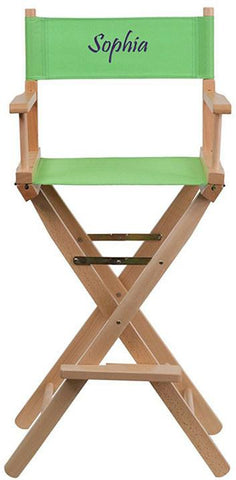 Flash Furniture TYD01-GN-EMB-GG Embroidered Bar Height Directors Chair in Green - Peazz Furniture