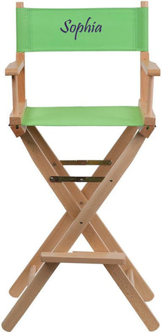 Flash Furniture TYD01-GN-TXTEMB-GG Personalized Bar Height Directors Chair in Green - Peazz Furniture
