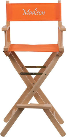 Flash Furniture TYD01-OR-TXTEMB-GG Personalized Bar Height Directors Chair in Orange - Peazz Furniture