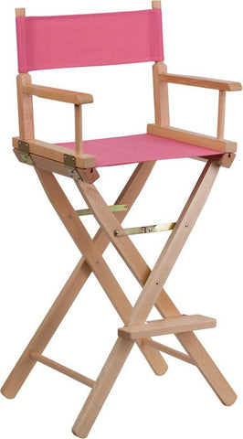 Flash Furniture TYD01-PK-GG Bar Height Directors Chair in Pink - Peazz Furniture