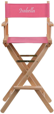 Flash Furniture TYD01-PK-TXTEMB-GG Personalized Bar Height Directors Chair in Pink - Peazz Furniture