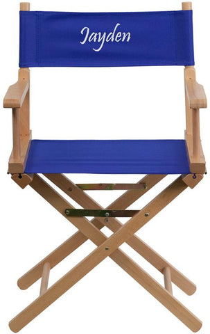 Flash Furniture TYD02-BL-EMB-GG Embroidered Standard Height Directors Chair in Blue - Peazz Furniture