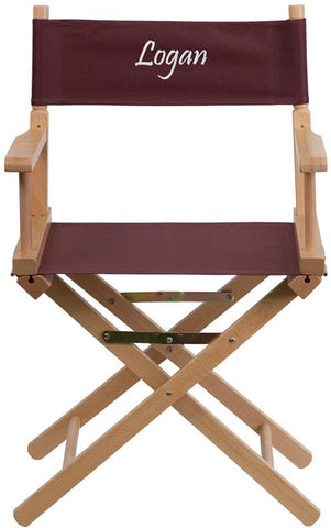 Flash Furniture TYD02-BN-EMB-GG Embroidered Standard Height Directors Chair in Brown - Peazz Furniture