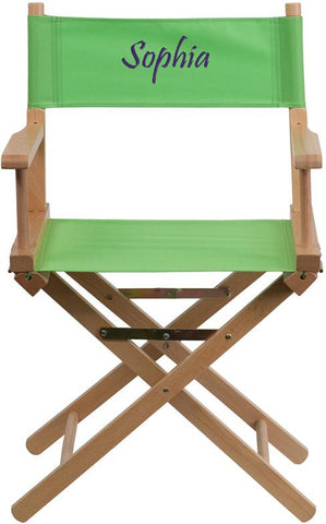 Flash Furniture TYD02-GN-TXTEMB-GG Personalized Standard Height Directors Chair in Green - Peazz Furniture