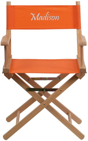 Flash Furniture TYD02-OR-TXTEMB-GG Personalized Standard Height Directors Chair in Orange - Peazz Furniture