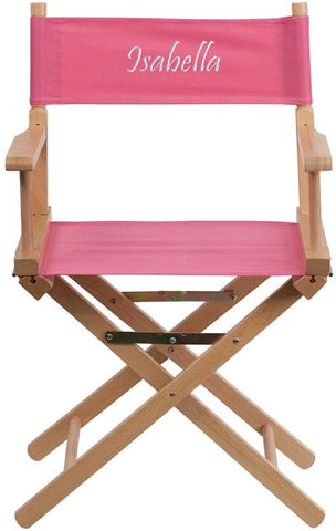 Flash Furniture TYD02-PK-TXTEMB-GG Personalized Standard Height Directors Chair in Pink - Peazz Furniture