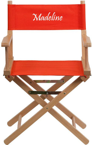 Flash Furniture TYD02-RD-TXTEMB-GG Personalized Standard Height Directors Chair in Red - Peazz Furniture