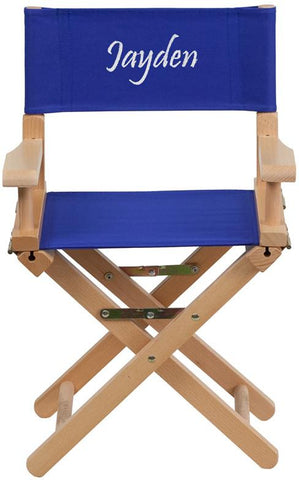 Flash Furniture TYD03-BL-EMB-GG Embroidered Kid Size Directors Chair in Blue - Peazz Furniture
