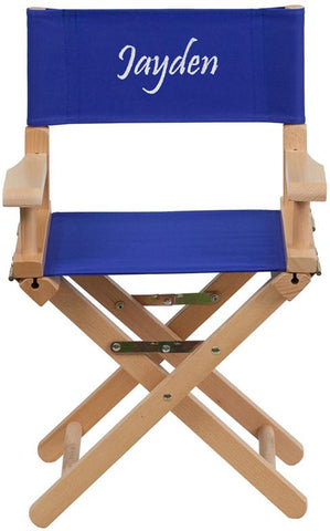 Flash Furniture TYD03-BL-TXTEMB-GG Personalized Kid Size Directors Chair in Blue - Peazz Furniture