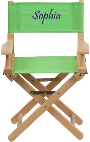 Flash Furniture TYD03-GN-TXTEMB-GG Personalized Kid Size Directors Chair in Green - Peazz Furniture