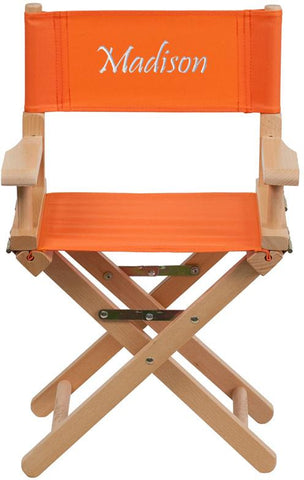 Flash Furniture TYD03-OR-TXTEMB-GG Personalized Kid Size Directors Chair in Orange - Peazz Furniture