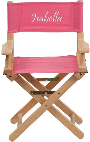 Flash Furniture TYD03-PK-EMB-GG Embroidered Kid Size Directors Chair in Pink - Peazz Furniture
