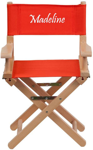 Flash Furniture TYD03-RD-TXTEMB-GG Personalized Kid Size Directors Chair in Red - Peazz Furniture