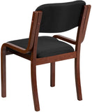Flash Furniture UH-5071-BK-WAL-GG Contemporary Black Fabric Wood Side Chair with Walnut Frame - Peazz Furniture - 3