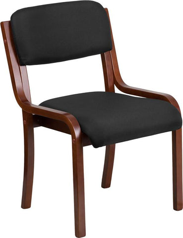 Flash Furniture UH-5071-BK-WAL-GG Contemporary Black Fabric Wood Side Chair with Walnut Frame - Peazz Furniture - 1