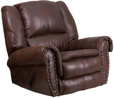 Flash Furniture WA-1459-690-GG Contemporary, Breathable Comfort Padre Espresso Fabric Rocker Recliner with Brass Accent Nails - Peazz Furniture