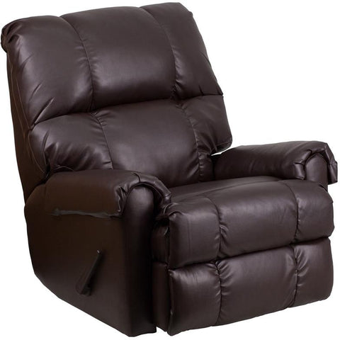 Flash Furniture WM-8700-620-GG Contemporary Ty Chocolate Leather Rocker Recliner - Peazz Furniture - 1