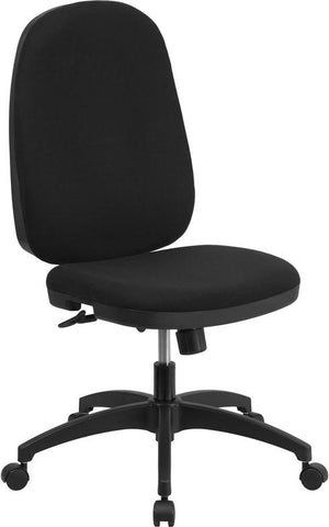 Flash Furniture WR-609G-GG High Back Black Fabric Multi-Functional Swivel Task Chair with Back Angle Adjustment - Peazz Furniture - 1