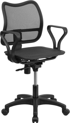 Flash Furniture WR22-A-GG Mid-Back Black Mesh Swivel Task Chair with Loop Arms - Peazz Furniture - 1