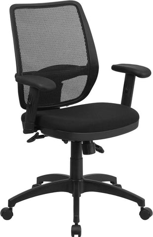 Flash Furniture WR72BLACK-GG Mid-Back Black Mesh Executive Swivel Office Chair with Back Angle Adjustment - Peazz Furniture - 1