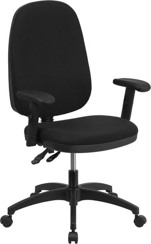 Flash Furniture WR79-A-GG High Back Black Fabric Multi-Functional Swivel Task Chair with Height Adjustable Arms - Peazz Furniture - 1