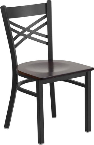 Flash Furniture XU-6FOBXBK-WALW-GG HERCULES Series Black ''X'' Back Metal Restaurant Chair - Walnut Wood Seat - Peazz Furniture