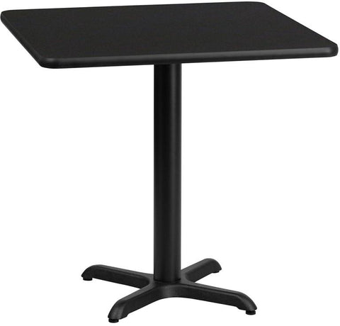 Flash Furniture XU-BLKTB-2424-T2222-GG 24'' Square Black Laminate Table Top with 22'' x 22'' Table Height Base - Peazz Furniture