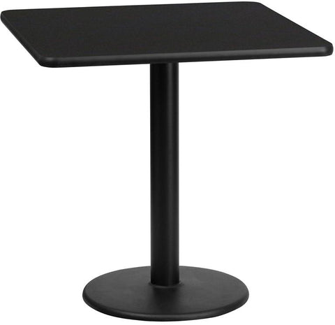 Flash Furniture XU-BLKTB-2424-TR18-GG 24'' Square Black Laminate Table Top with 18'' Round Table Height Base - Peazz Furniture