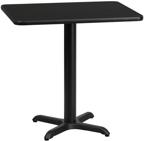 Flash Furniture XU-BLKTB-2430-T2222-GG 24'' x 30'' Rectangular Black Laminate Table Top with 22'' x 22'' Table Height Base - Peazz Furniture