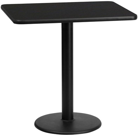 Flash Furniture XU-BLKTB-2430-TR18-GG 24'' x 30'' Rectangular Black Laminate Table Top with 18'' Round Table Height Base - Peazz Furniture