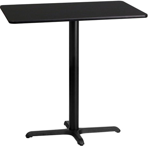 Flash Furniture XU-BLKTB-2442-T2230B-GG 24'' x 42'' Rectangular Black Laminate Table Top with 22'' x 30'' Bar Height Table Base - Peazz Furniture