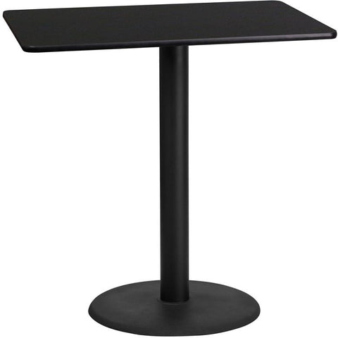 Flash Furniture XU-BLKTB-2442-TR24B-GG 24'' x 42'' Rectangular Black Laminate Table Top with 24'' Round Bar Height Table Base - Peazz Furniture