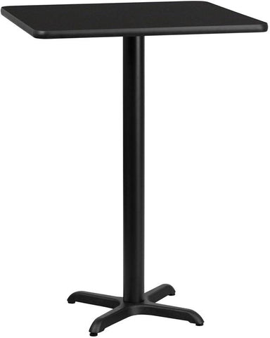 Flash Furniture XU-BLKTB-3030-T2222B-GG 30'' Square Black Laminate Table Top with 22'' x 22'' Bar Height Table Base - Peazz Furniture