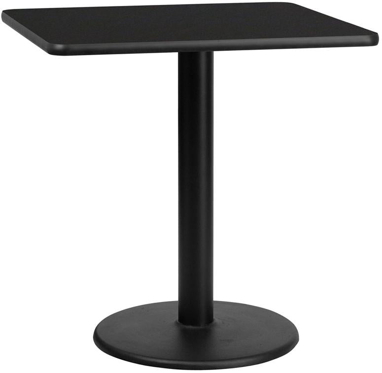 Flash Furniture XU-BLKTB-3030-TR18-GG 30'' Square Black Laminate Table Top with 18'' Round Table Height Base