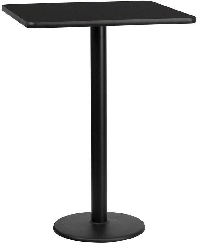 Flash Furniture XU-BLKTB-3030-TR18B-GG 30'' Square Black Laminate Table Top with 18'' Round Bar Height Table Base