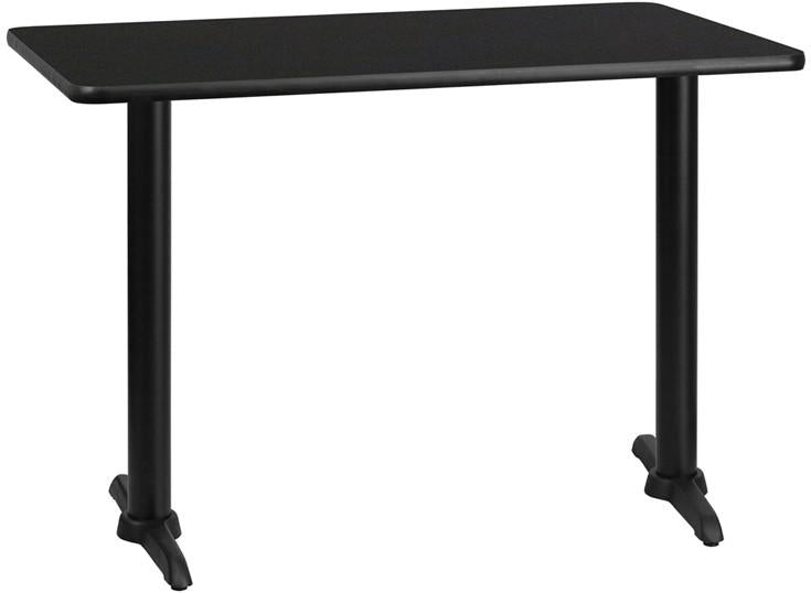 Flash Furniture XU-BLKTB-3042-T0522-GG 30'' x 42'' Rectangular Black Laminate Table Top with 5'' x 22'' Table Height Bases